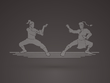 fu: Kung Fu action ready to fight designed using dots pattern graphic vector.