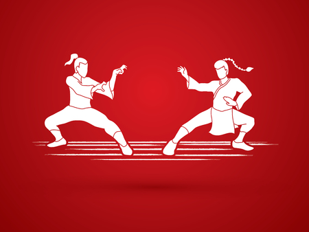 kata: Kung Fu action ready to fight graphic vector. Illustration