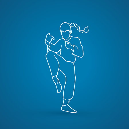 Drunken Kung fu pose outline graphic vector.