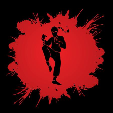 Drunken Kung fu pose designed on grunge blood background graphic vector.