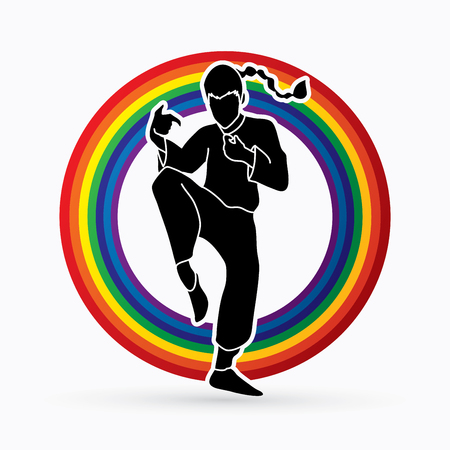 Drunken Kung fu pose designed on line rainbows background graphic vector.