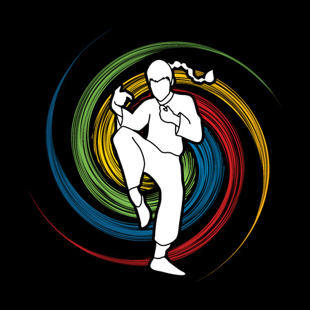 screen printing: Drunken Kung fu pose designed on spin wheel background graphic vector.