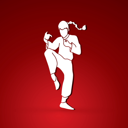 Drunken Kung fu pose graphic vector. Illustration
