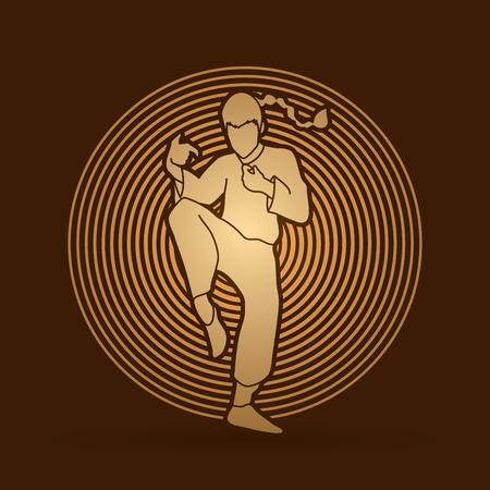 wushu: Drunken Kung fu pose designed on golden light  background graphic vector.