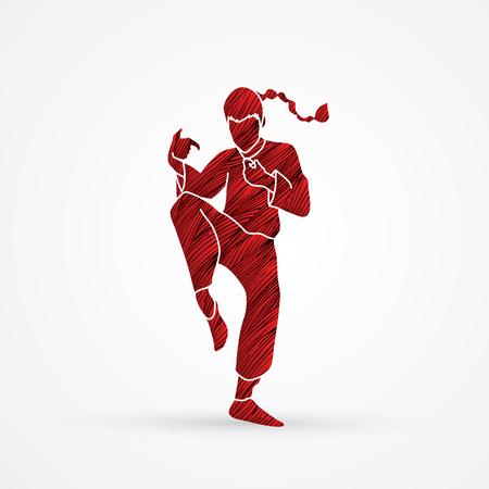 powerful: Drunken Kung fu pose designed using red grunge brush graphic vector.