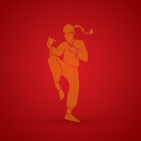 kung: Drunken Kung fu pose designed using dots pattern graphic vector.