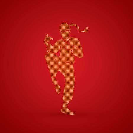 Drunken Kung fu pose designed using dots pattern graphic vector.