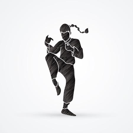 Drunken Kung fu pose designed using blue grunge brush graphic vector.