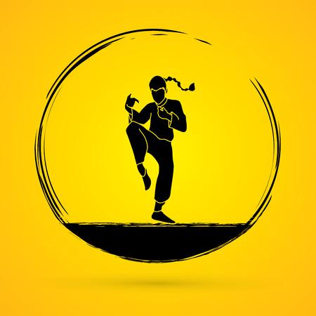 kung: Drunken Kung fu pose graphic vector. Illustration