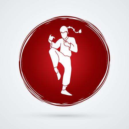 drunken: Drunken Kung fu pose designed on circle background graphic vector.