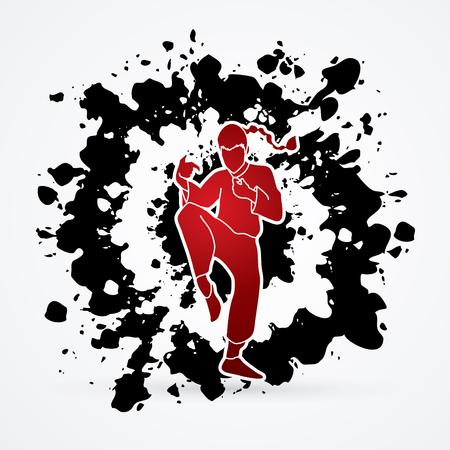 Drunken Kung fu pose designed on splatter ink background graphic vector. Illustration