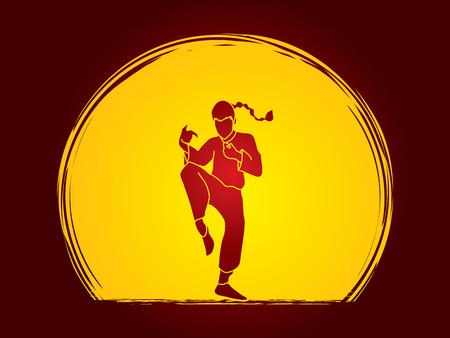 vietvodao: Drunken Kung fu pose designed on moonlight background graphic vector.