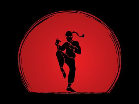fu: Drunken Kung fu pose designed on sunset background graphic vector.