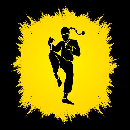 Drunken Kung fu pose designed on grunge frame background graphic vector. Illustration