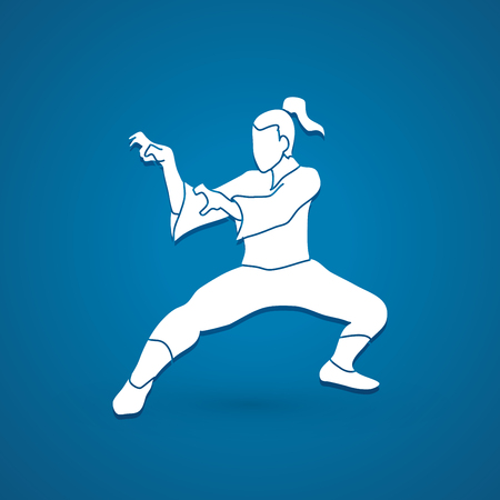 fu: Kung fu action graphic vector. Illustration