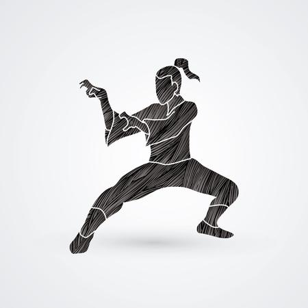 Kung fu action designed using black grunge brush graphic vector. Vettoriali