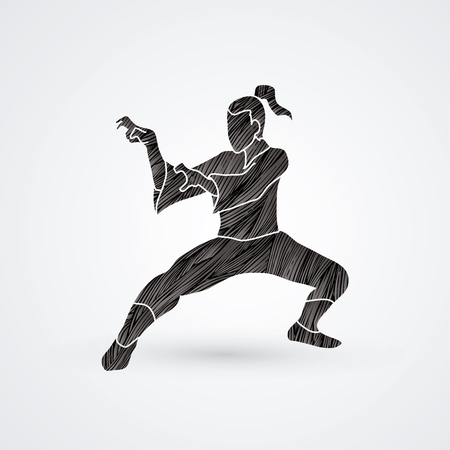 Kung fu action designed using black grunge brush graphic vector. Illustration