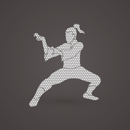combative: Kung fu action designed using geometric pattern graphic vector.