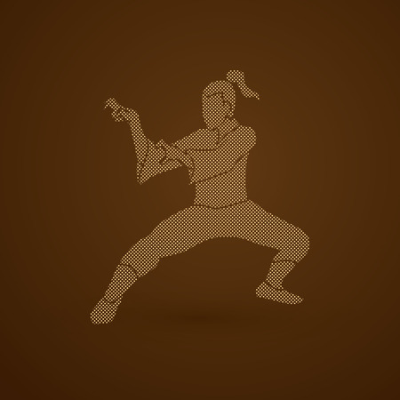 vietvodao: Kung fu action designed using dots  pixels graphic vector. Illustration