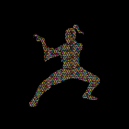 Kung fu action designed using colorful mosaic graphic vector.