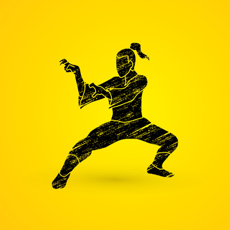 kung: Kung fu action designed using grunge brush graphic vector.
