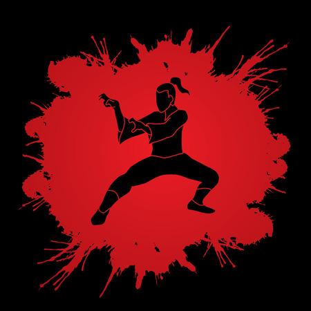 vietvodao: Kung fu action designed on splatter blood background graphic vector.