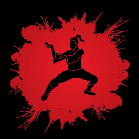 Kung fu action designed on splatter blood background graphic vector.