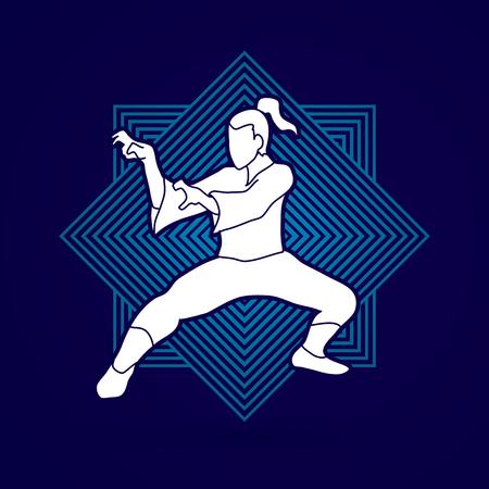 Kung fu action designed on line squaret background graphic vector.