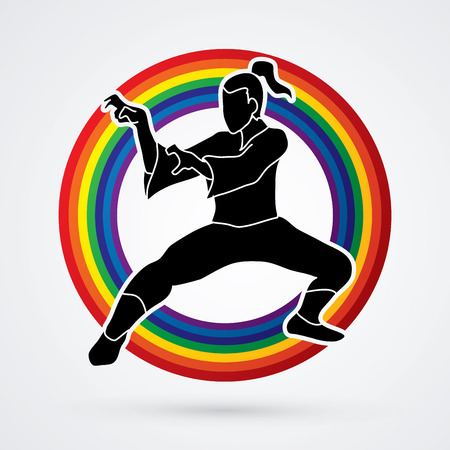combative: Kung fu action designed on line rainbows background graphic vector. Illustration