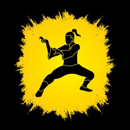grunge frame: Kung fu action designed on grunge frame background graphic vector.
