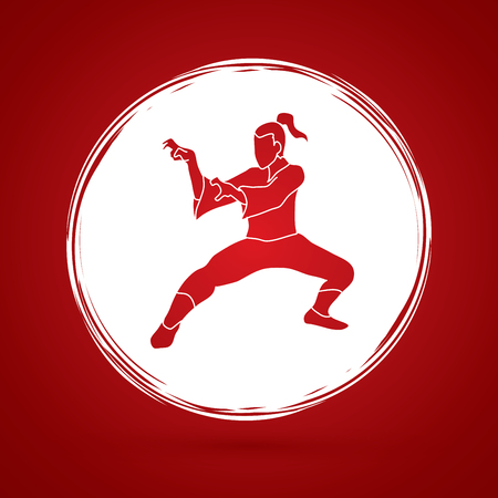 Kung fu action designed on grunge circle background graphic vector.