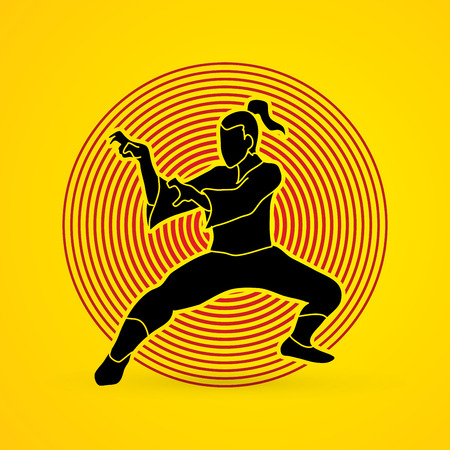 Kung fu action designed on circle light background graphic vector. Illustration