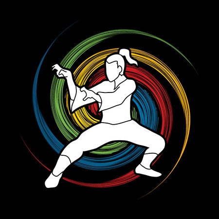 Kung fu action designed on spin wheel background graphic vector.
