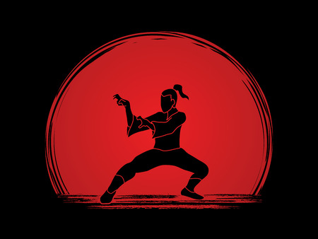 combative: Kung fu action designed on sunset background graphic vector.