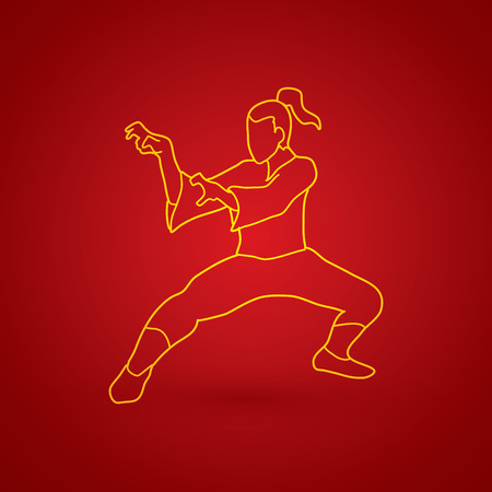fu: Kung fu action outline graphic vector. Illustration