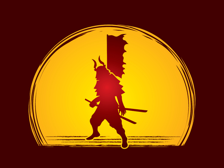 Samurai standing ready to fight designed on moonlight background graphic vector. Illustration