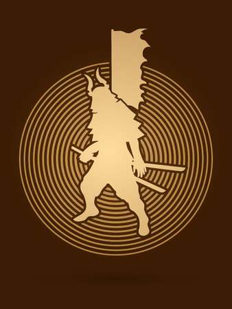 screen printing: Samurai standing ready to fight designed on circle light background graphic vector.