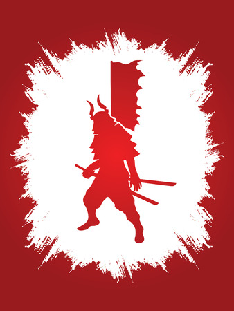 Samurai standing ready to fight designed on grunge frame background graphic vector.