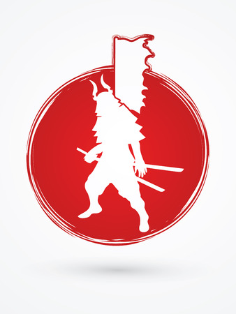 Samurai standing ready to fight designed on grunge circle background graphic vector.
