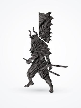 bushido: Samurai standing ready to fight designed using black grunge brush graphic vector. Illustration