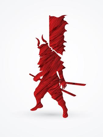 bushido: Samurai standing ready to fight designed using red grunge brush graphic vector.