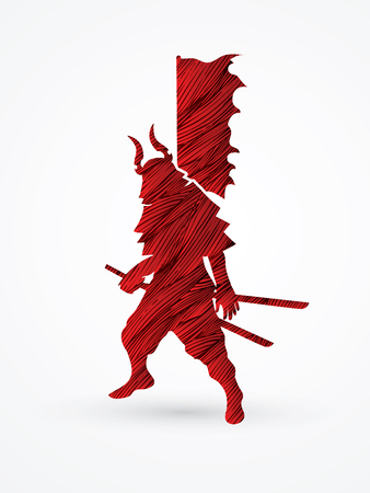 Samurai standing ready to fight designed using red grunge brush graphic vector.