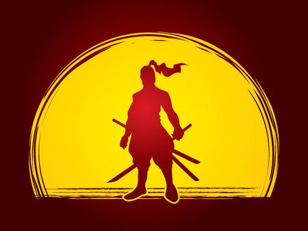 bushido: Samurai standing ready to fight designed on moonlight background graphic vector. Illustration