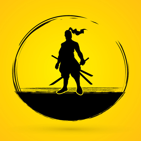 Samurai standing ready to fight graphic vector.