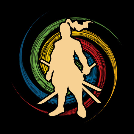 bushido: Samurai standing ready to fight designed on spin wheel background graphic vector. Illustration