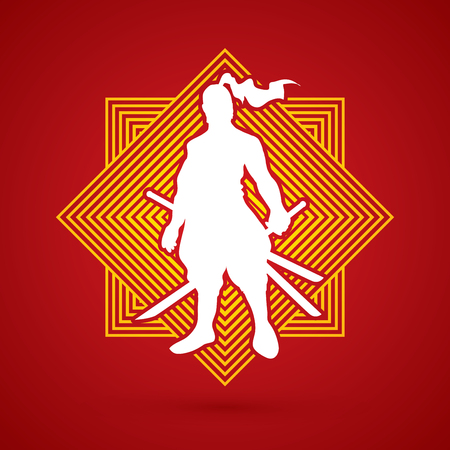 Samurai standing ready to fight designed on line square background graphic vector.