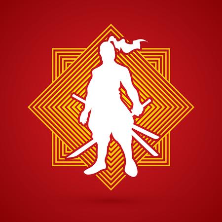 bushido: Samurai standing ready to fight designed on line square background graphic vector.