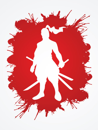 bushido: Samurai standing ready to fight designed on splatter blood background graphic vector. Illustration
