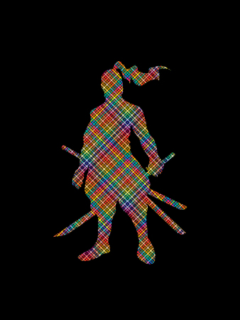 bushido: Samurai standing ready to fight designed using colorful pixels graphic vector.