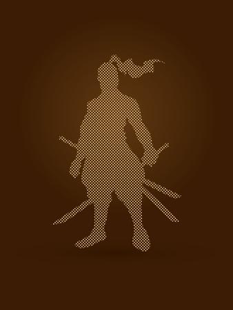 bushido: Samurai standing ready to fight designed using dots pixels graphic vector.
